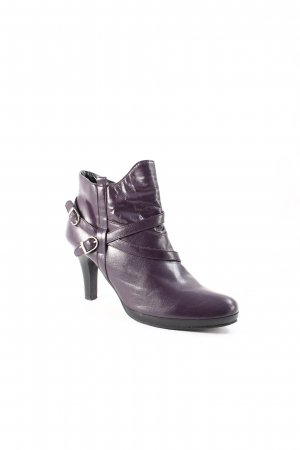 Andrea Conti Zipper Booties dark violet wet-look