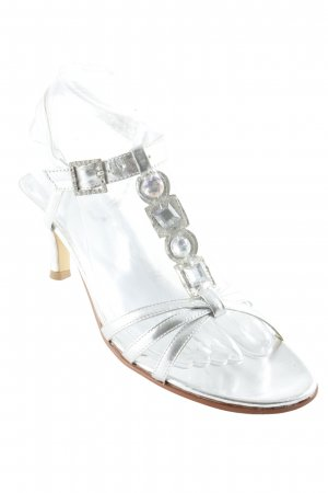 Andrea Conti Strapped High-Heeled Sandals silver-colored Gemstone ornaments