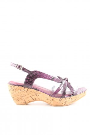 Andrea Conti Wedge Sandals lilac animal pattern elegant