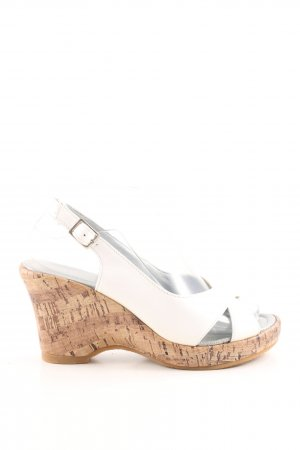 Andrea Conti Wedge Sandals white-nude casual look