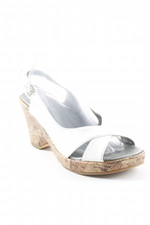 Andrea Conti Wedge Sandals silver-colored-white casual look