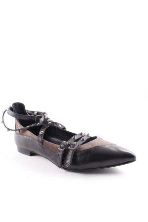 Andrea Puccini Ballerines à lacets noir-taupe style extravagant