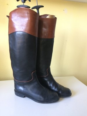Andrea Puccini Riding Boots black-cognac-coloured leather