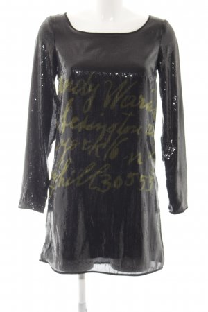Andy Warhol by Pepe Jeans London Sequin Dress black printed lettering
