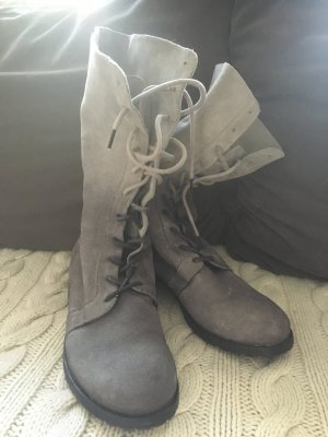 Anette Görtz Lace-up Boots light grey-silver-colored suede