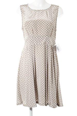 Ange Paris A-Linien Kleid beige-weiß Punktemuster Romantik-Look