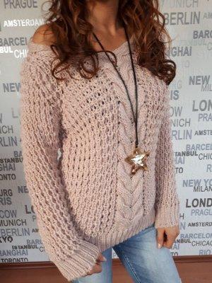 Angebot für Kurz zeit Grobstrick Pullover Italy  Rosa Farbe Gr S-M-L
