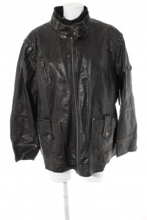 Angel of Style Faux Leather Jacket black brown-gold-colored casual look