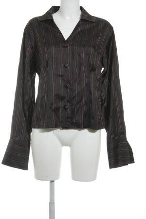Angela Ziemer Glanzbluse schwarz-rot Streifenmuster 60ies-Stil