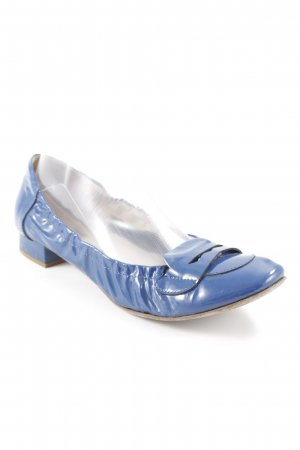 Angelo Bervicato Patent Leather Ballerinas blue leather-look