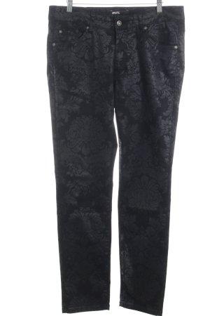 Angels Skinny Jeans schwarz Blumenmuster Glanz-Optik