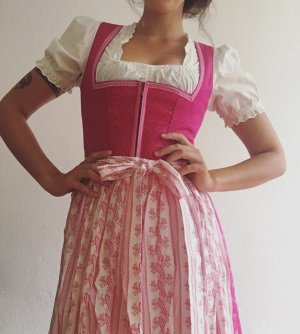 Angermaier Dirndl bianco-rosso lampone Cotone