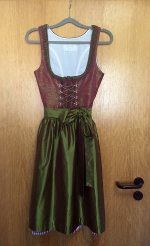 Angermaier Dirndl bordeaux-verde scuro