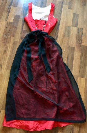 Angermaier Traditionele jurk rood-zwart