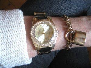 Angesagte Blogger Armbanduhr gold/schwarz kürzbar