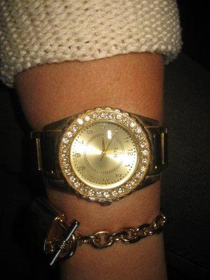 Angesagte Blogger Armbanduhr mit Strass gold/schwarz