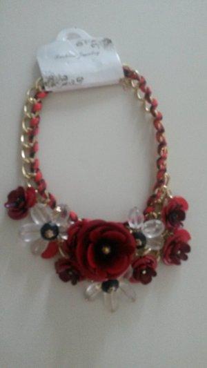 angesagte BLOGGER Statement Halskette Kette BOHO - rot dunkelrot Blümchen Blumen
