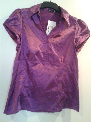 angesagte Bluse in mangenta pink / glänzende besondere Optik - tailliert