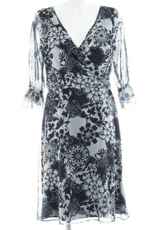 Angie A-lijn jurk turkoois-zwart bloemen patroon romantische stijl