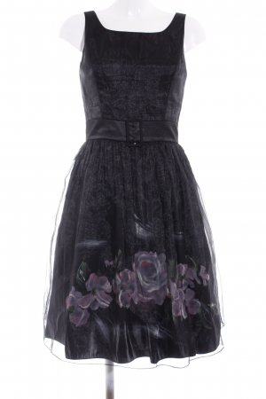 Angie Babydoll Dress black-dusky pink flower pattern elegant