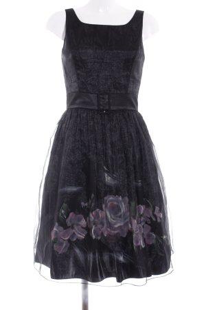Angie Robe Babydoll noir-vieux rose motif de fleur élégant