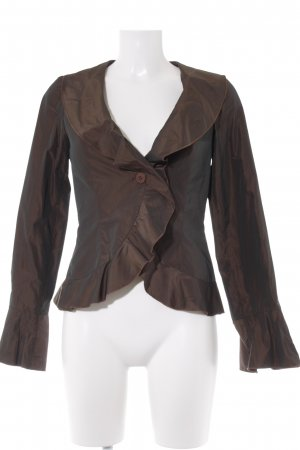 Angie Ruffled Blouse brown-dark brown shimmery