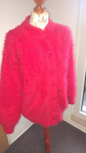 Fur Jacket red-bright red angora wool