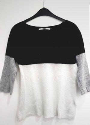 Angora | Mohair Pullover 》Blockfarben schwarz | grau | weiß