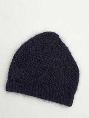Knitted Hat dark violet-purple angora wool