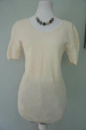 Jersey de manga corta beige claro lana de angora
