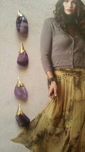Anhänger 4tlg. echter Amethyst lila gold Unikat Boho Vintage
