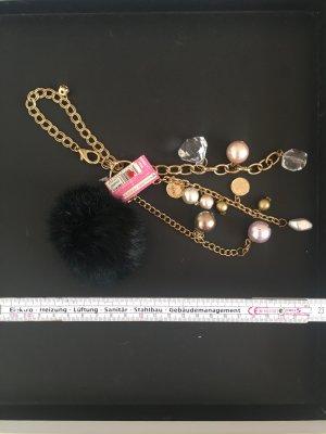 Anhänger Bommel Fell Perlen Gold Goldkette Gliederkette Münzen Kristall edel elegant feminin