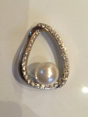 Anhänger, Kettenanhänger Silber, Perle ( Kunstperle), Strass