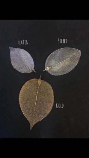 Anhänger Set aus echten Blättern in Gold, Silber und Platin