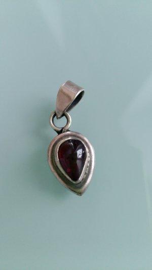 Anhänger Silber tropfenform, roter Stein