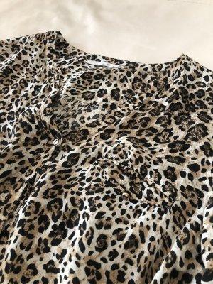 Animal Print Bluse Shirt Viscose Knöpfe