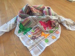 Anina W Tuch weiß/multicolor mit Schmetterlings- und Blumenapplikationen
