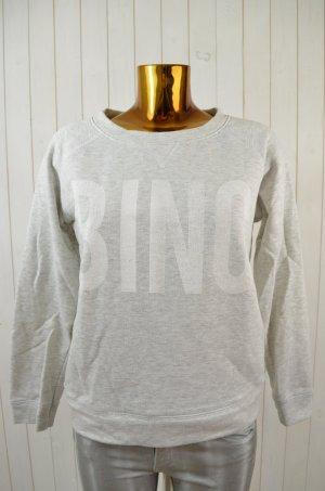 ANINE BING Damen Sweatshirt Pullover Sweater Hellgrau Weiß Print Gr.S
