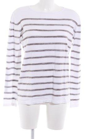Aniston Sweatshirt weiß-graubraun Streifenmuster Street-Fashion-Look