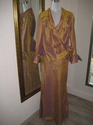 Anja Gockel Traje para mujer color oro-marrón arena Seda