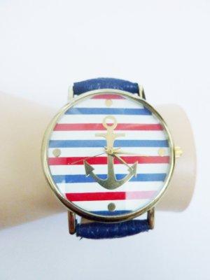 Anker Armbanduhr Lederuhr vegan Kunstleder Armband Uhr