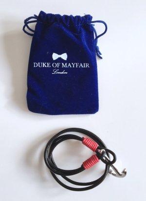 Anker Lederarmband schwarz mit roter Verzierung von Duke of Mayfair Neu