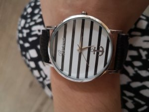 Watch With Leather Strap black