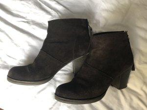 Mango Ankle Boots dark brown suede