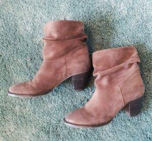 Ankle Boots braun Absatz Leder Booties Stiefel Stiefeletten 38