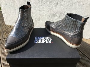 Ankle Boots Chelsea Stiefeletten flat slip ons Metallic Schlange sneaker NP 250