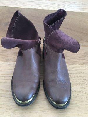 Promod Botas de tobillo marrón grisáceo-rojo amarronado Cuero