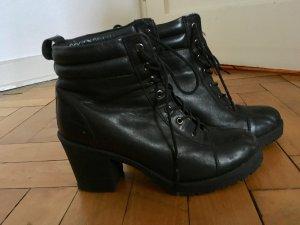 Ankle Boots Deena & Ozzy Vintage Plateau Neunziger High Heels Schnürschuhe