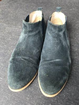 Ankle Boots, Gr. 38/39, Veloursleder, petrol