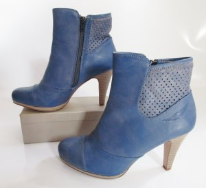 Ankle Boots Gr. 40 Blau Arizona High Heels Stiefel Holzoptik Kunstleder Stiefeletten Schuhe